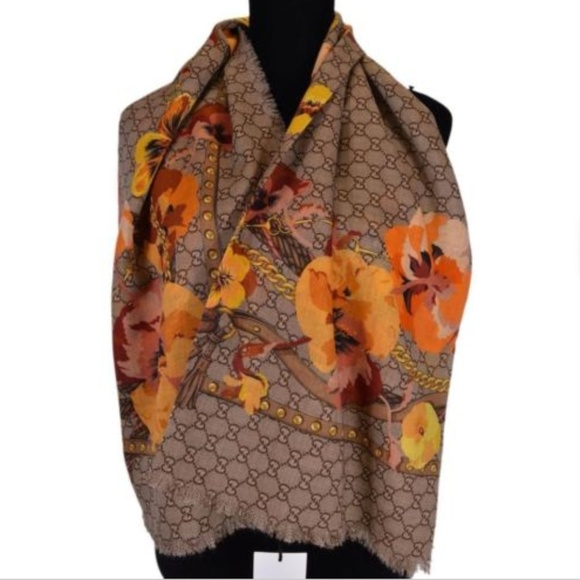 2393300863 New! Gucci Scarf shawl - Oshibana Bloom Floral